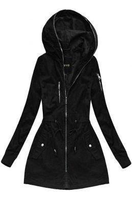 b1fd3b01d3250 Dámska prechodná bunda parka čierna H055   Veci na oblečenie   Outfit