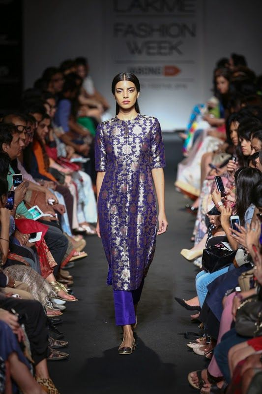 Sanjay Garg festive collection. The entire collection is developed using the peculiar kadwa Brocade technique of Varanasi. Kadwa implies to the ornamentation of motifs using extra weft. The patterns, etched in gold against silk background achieved a remarkable clarity of pattern and forms with gem like enamelling