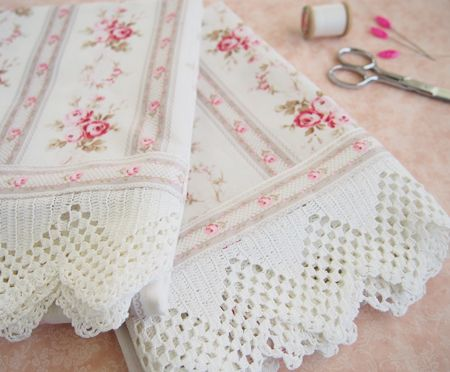 Pretty by hand's beautiful and delicate pillowcases she've made with reclaimed vintage handmade lace.