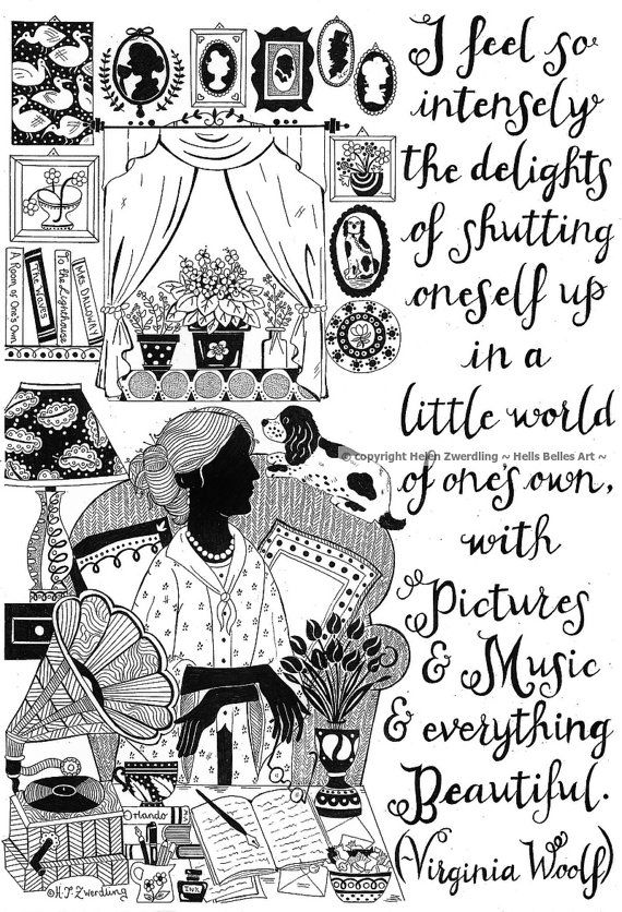 An illustrated Virginia Woolf quote: I feel so intensely the delights of shutting oneself up in a little room of ones own, with pictures and music and everything beautiful. Artist: ©Helen Zwerdling ~ Hells Belles Art ~ An ideal gift for any introvert, lover of books, literature and Virginia Woolf. This is a signed and framed A4 (8 1/4 x 11 3/4 inches) print of one of my original ink drawings. I hand sign every print, and the reverse side of the print also bears my signature. T...
