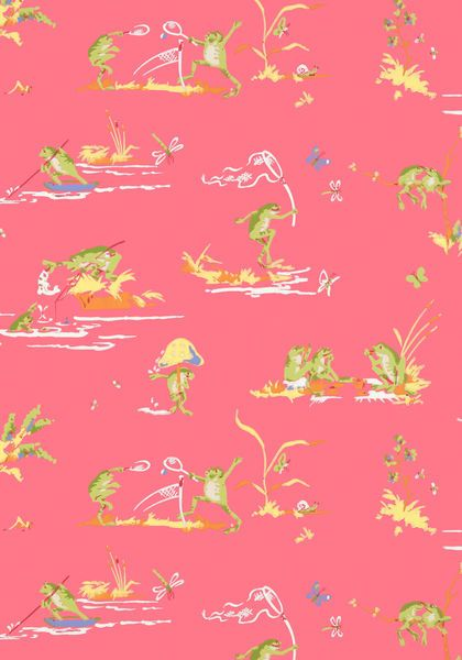 Resort Frogs #wallpaper in #pink from the Resort collection. #Thibaut