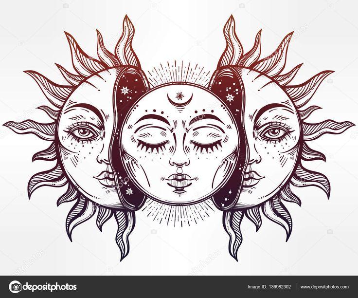 Illustrazione vettoriale della luna e del sole con facce ...