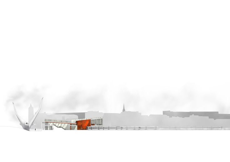 Derry/ Londonderry Train Station Proposal - Long Section Looking towards 'Walled City' from Edbrington