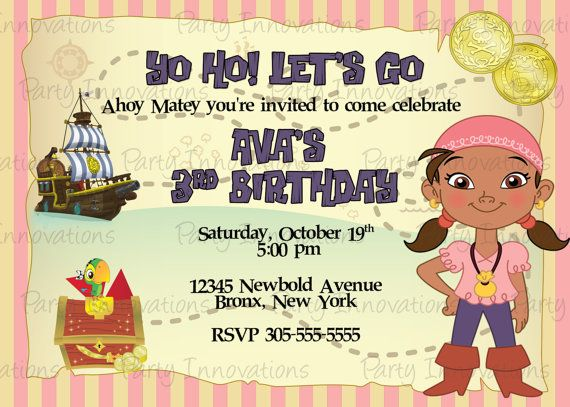 13 best jake and the neverland pirates 4th birthday images on printable jake and the neverland pirates izzy birthday party invitation plus free blank matching printable thank you card filmwisefo Image collections