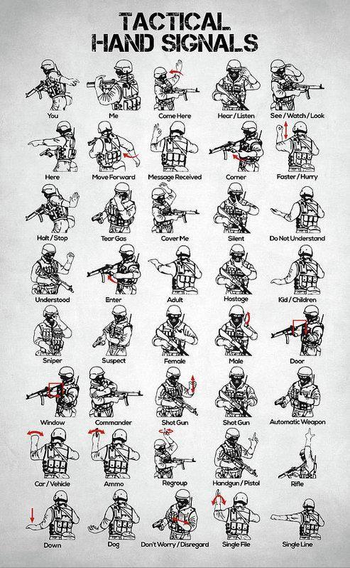 Tactical Hand Signals Art Print Survival skills