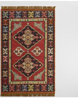 On Sale! Red Kilim Reversible Esme Indoor Outdoor Patio Rug - Polyester - 5' x 8' by World Market
