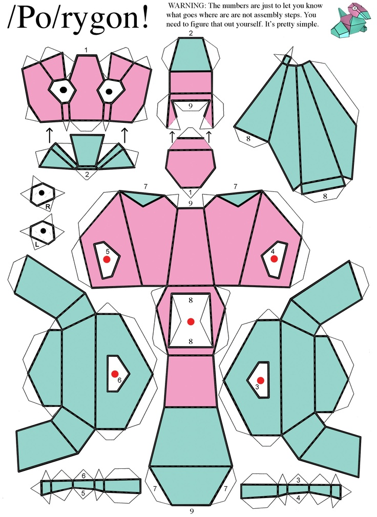 Porygon from Pokemon. Difficulty level: Easy.