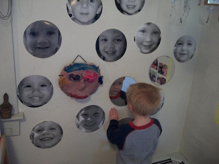 A Study of Faces -Garden Gate Child Development Center-Mirrors-The children began their discovery of faces with their own. Each child is fascinated with the image of their own face in their reflection. Lovely :)-photo 1