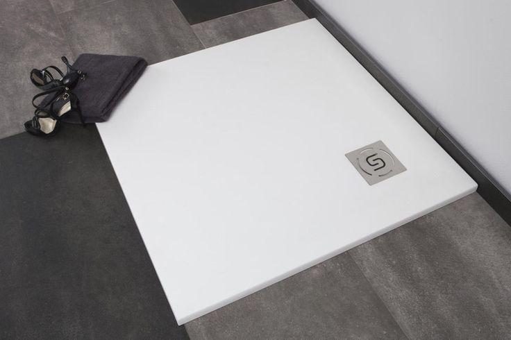 Bodengleiche Duschwanne 90x90x2,8 cm Dusche Mineralguss Sqaure Pizarra