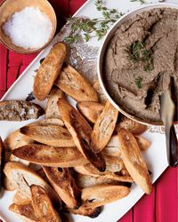 Menu: Pate & Toast Points. Another splurge option, but easy. This photo links to a recipe- but better to pick up some to go from Wise Sons Deli.