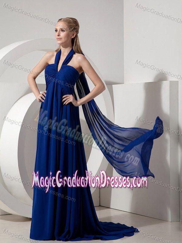Cheap Navy Blue Halter top Watteau University Graduation Dress in Atmore