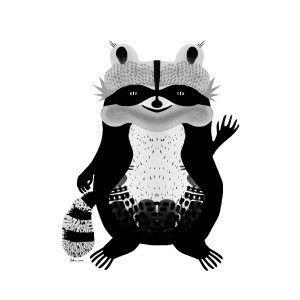 Raccoon saying hello. Illustration by Sokru, Outi Virtanen. www.sokru.com