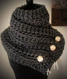 The Eleanor Scarf - Wool Blend Bulky Knit Scarf with Reclaimed Wood Buttons - Custom Color