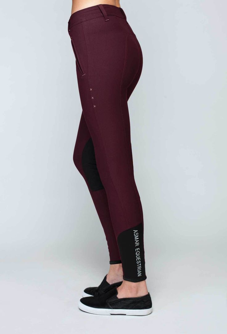 The bold chianti breech is the perfect fall fashion essential for the avid equestrian and features black faux suede knee patches and a smooth stocking bottom.