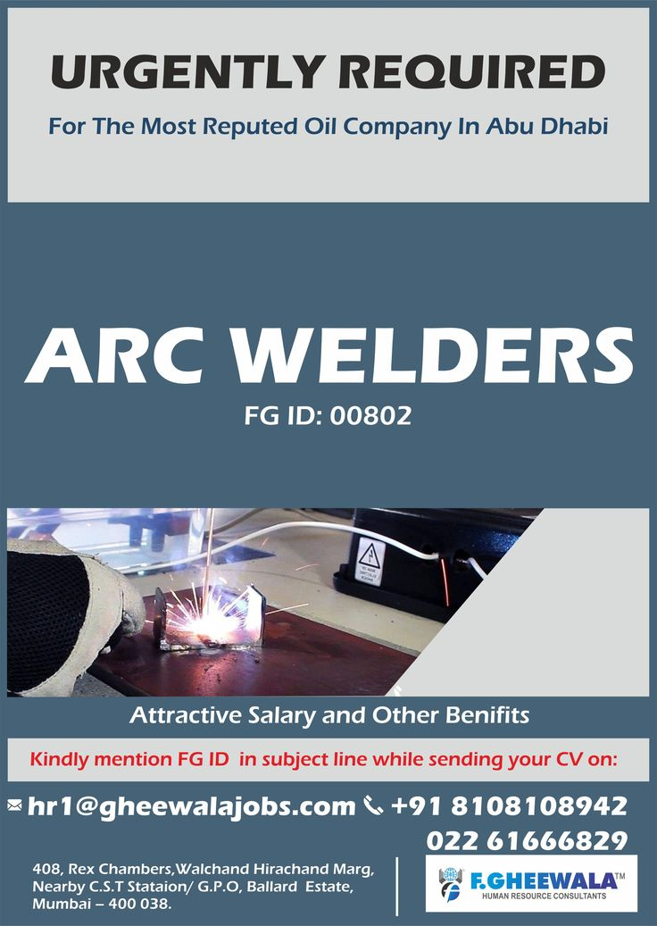 Urgently Required Arc Welder for the Most Reputed Oil Company in Abu Dhabi. Grab this urgent opening.  Please send your updated CV by mentioning FG ID at hr1@gheewalajobs.com Contact Details: +91 8108108942 / 022 61666829  For more relevant jobs please register your profile on our website below: https://lnkd.in/fQxGwP6