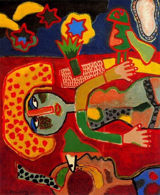 Corneille--. Ook is de invloed van Miro duidelijk zichtbaar in uitbundig vrolijke vormen en kleuren. Het mythische motief breekt door in zijn werk. De lijnen worden losser en lichter en een leger van fabelwezens dringt dansend de composities binnen.