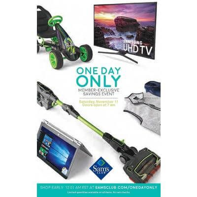 View the Sam's Club One Day Only Ad with Sam's Club deals and sales
