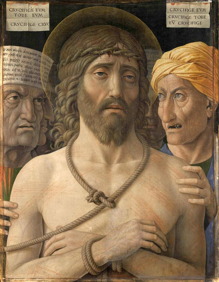 "Behold the Man. - John 19:5, ""Then came Jesus forth, wearing the crown of thorns, and the purple robe. And Pilate saith unto them, Behold the man!"" - Ecce Homo  by Andrea Mantegna, circa 1500."