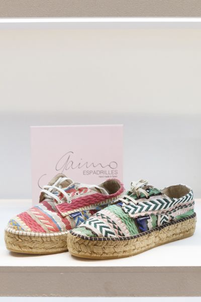Spring-Summer 2016 Gaimo Maslin Ethnic multi-coloured #Espadrilles are the perfect day-to-night vacation shoe. Wear yours with easy-chic styles for a day to night look.  Handmade in Spain, the natural jute soles offer excellent breathability even in the hottest months of the year | www.spanishoponline.com #SS16 #Gaimo