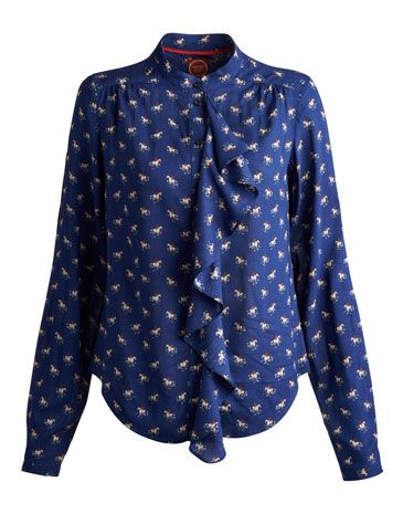 Joules null Womens Blouse, Navy Horse.                     With details that set it apart, this flattering shirt will easily become a centrepiece of any outfit. The waterfall drape and grandad collar put it in a field of its own. In a lightweight fabric that will hang beautifully. Perfect if you're looking for a
