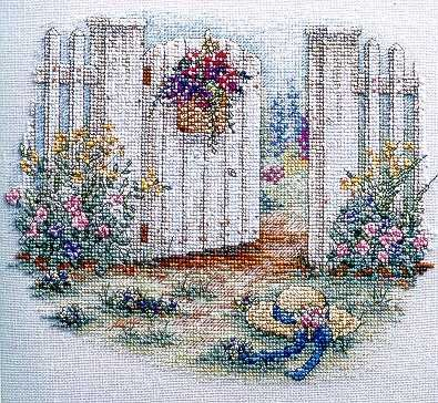 """""""Inviting Gateway"""" cross stitch pattern by Paula Vaughan"""