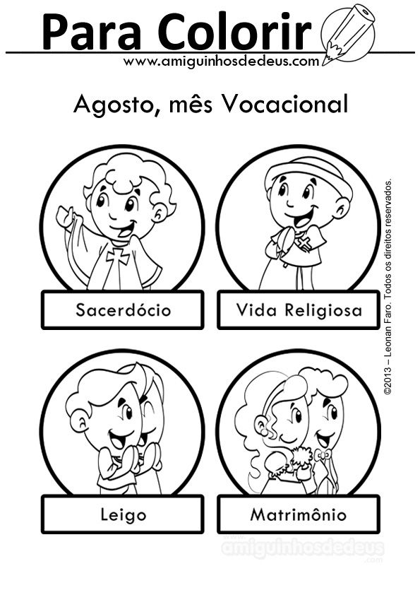 Vocacoes Para Colorir Mesvocacional Amiguinhos De Deus