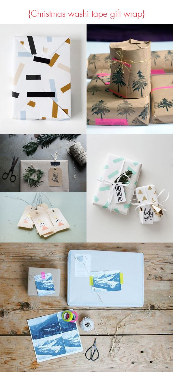 Christmas washi tape gift wrapping ideas.