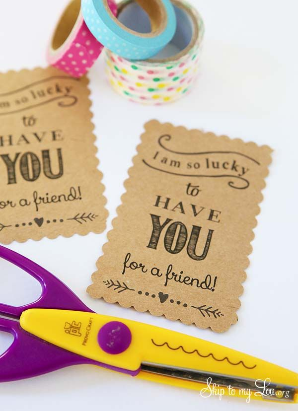 Free printable friendship tags! Simple gift idea for a friend, neighbor, or co-worker. #print #thankyou www.skiptomylou.org