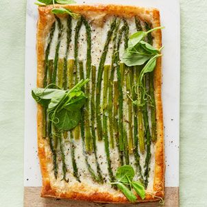 You don't have to be an accomplished baker to make this easy asparagus burrata tart; the recipe is easy to assemble thanks to frozen puff pastry.