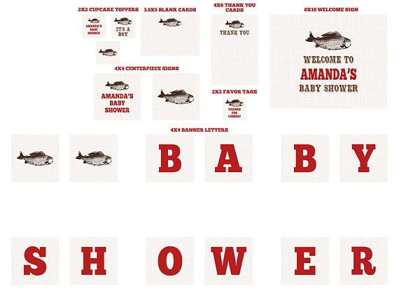 Vintage Fish Little Fisherman Dark Red baby shower Party Package on brown linen - fishing shower - boy baby shower - text color change only by NotableAffairs