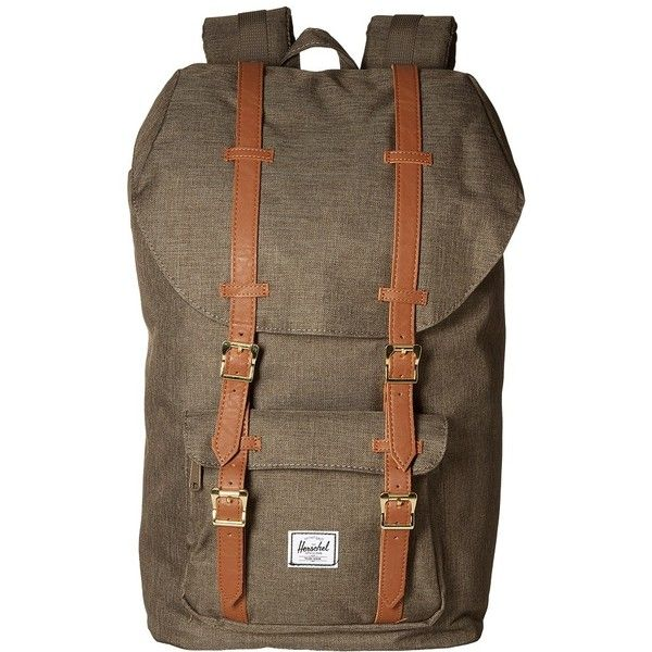 Herschel Supply Co. Little America (Canteen Crosshatch/Tan Synthetic Leather) Backpack Bags featuring polyvore, women's fashion, bags, backpacks, herschel supply co backpack, laptop bags, vegan leather backpack, padded laptop backpack and laptop rucksack
