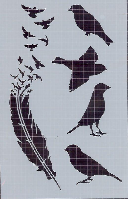 Plumes et oiseaux pochoirs masques pinterest for Pochoir oiseau