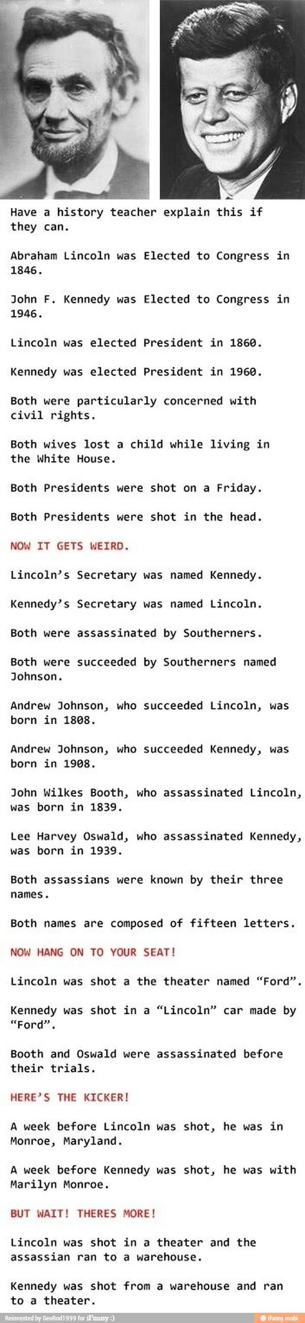 The infamous Lincoln-Kennedy coincidences