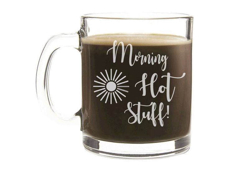 "Etched Coffee Cup - Personalized Gift - ""Morning Hot Stuff!"" - Engraved Glass Mug, Wedding Gift, Personalized Coffee Cup, Monogrammed Cup by ourSHINEdesigns on Etsy"