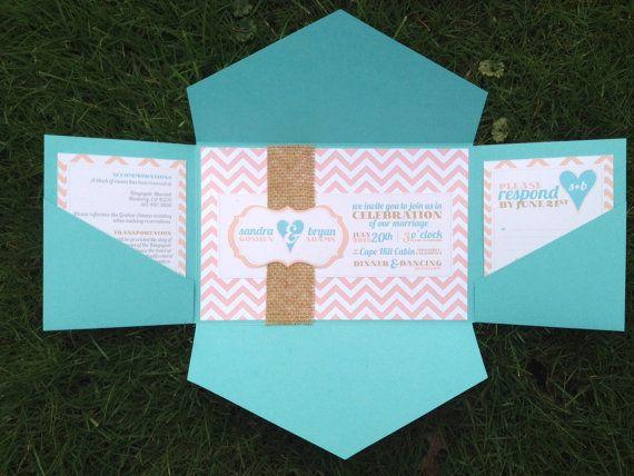 Blue And Coral Wedding Invitations: Aqua Coral Blush Teal Tiffany Blue Chevron Pocketold