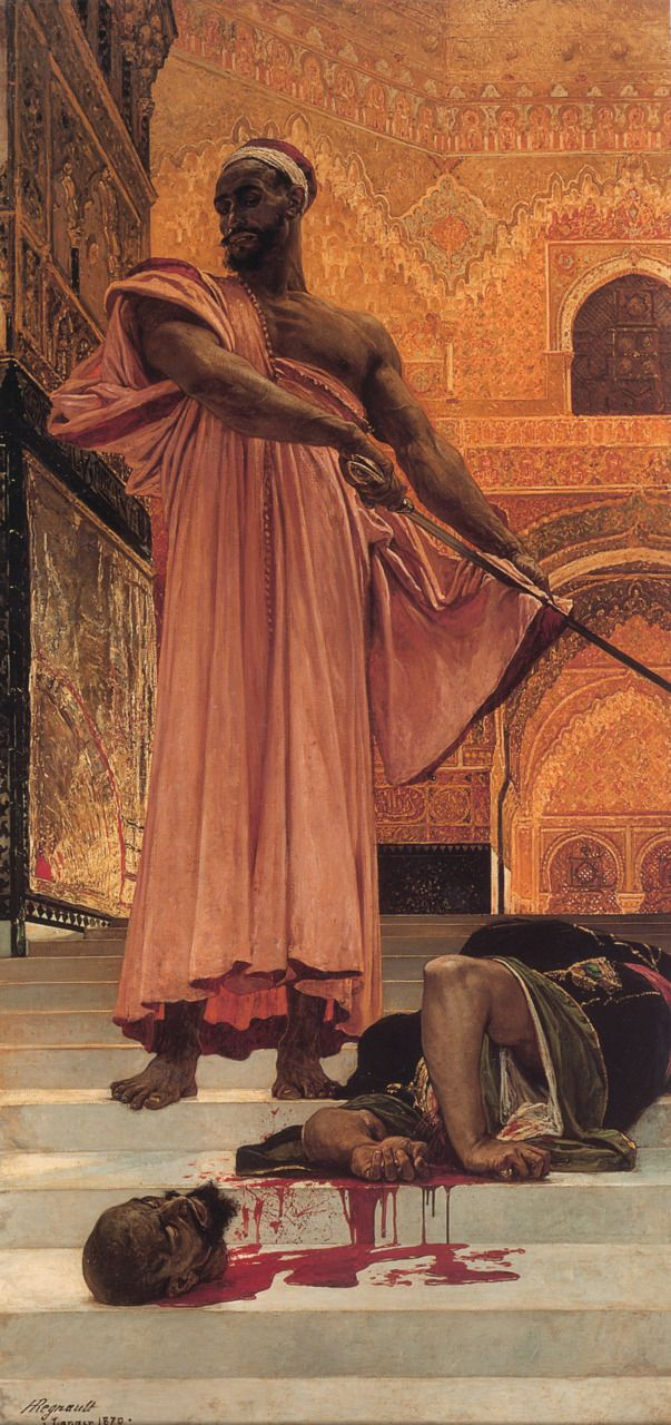 "Henri Alexandre Georges Regnault (1843-1871). Summary Judgment under the Moorish Kings of Granada, Oil on canvas,1870. 146 x 302 cm (4' 9.48"" x 9' 10.9"") Private collection"