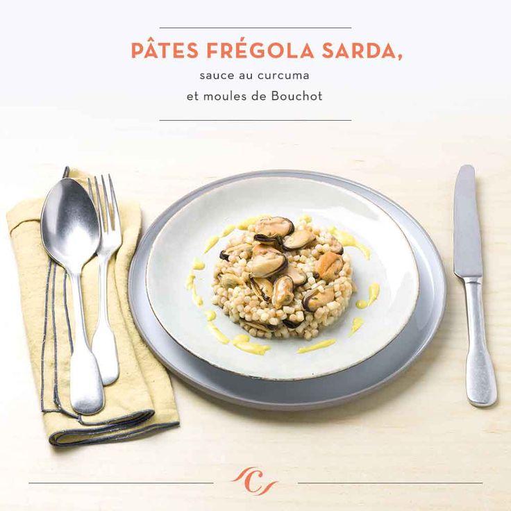[Carte Enchantement Quotidien ]  Pâtes frégola sarda, sauce au curcuma et moules de bouchot #ChefCuisine #MonChefCuisine #gastronomiealamaison #gastronomie #AnneSophiePic #food #cordonbleu #french #chef #foodie