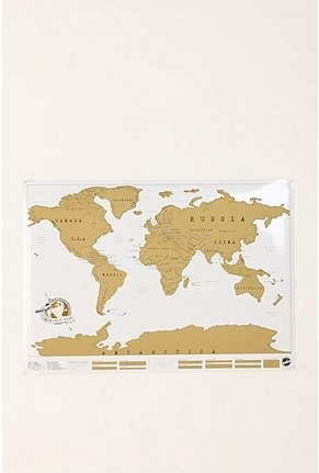 scratch off map - great for your friends who travel a lot. they can scratch off the countries they've visited! $34