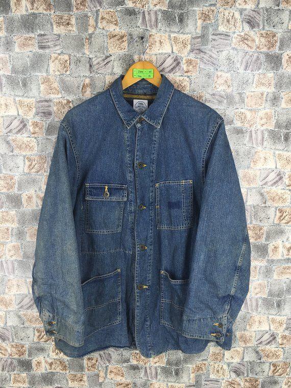Vintage 80 S Edwin Jeans Jacket Medium 1980s Workwear Jacket Labour Coat Workers Denim Jeans Blanket Jacket Size M Denim Jean Jacket Vintage Jeans Denim Jeans