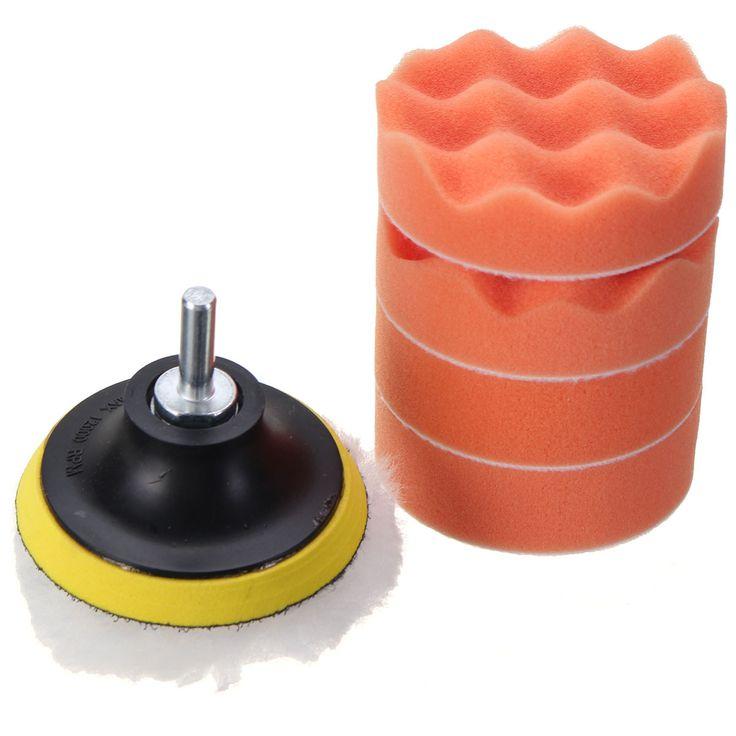 7Pcs/set 3 inch 80mm Polishing Buffing Sponge Pad Drill Adapter Car Auto Polisher Set