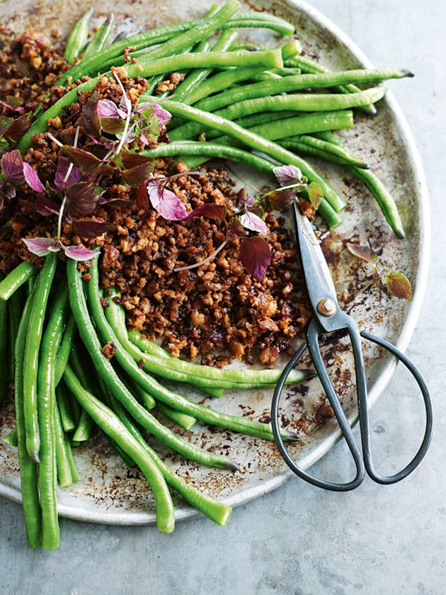 crispy pork and chilli mince with snake beans from donna hay