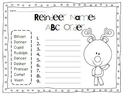 Teach With Laughter: Happy December and Reindeer Names ABC Order