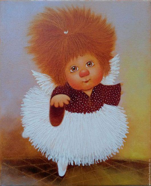 Люди, ручной работы. Ярмарка Мастеров - ручная работа. Купить Маленькая балеринка. Картина маслом. Handmade. Маленькая балеринка, ангел