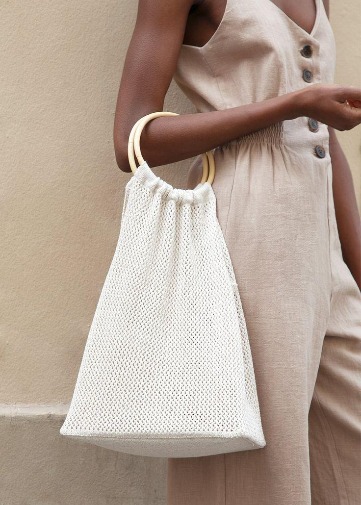 Straw Handbag Women Wooden Hand-Woven Top-Handle Beach Bag Circular Knitting