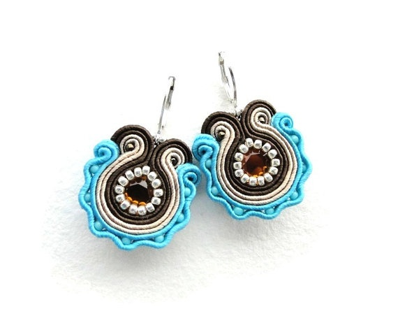 Turquoise and brown hand embroidered earrings by soStudio on Etsy, $30.00