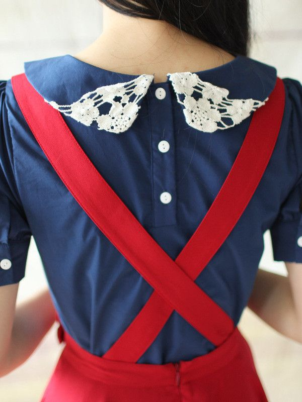 red pinafore, blue peter pan collar... very pretty