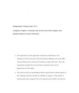 Complete Chapter 4 Closing Case at the end of the chapter and submit answers to your instructor.