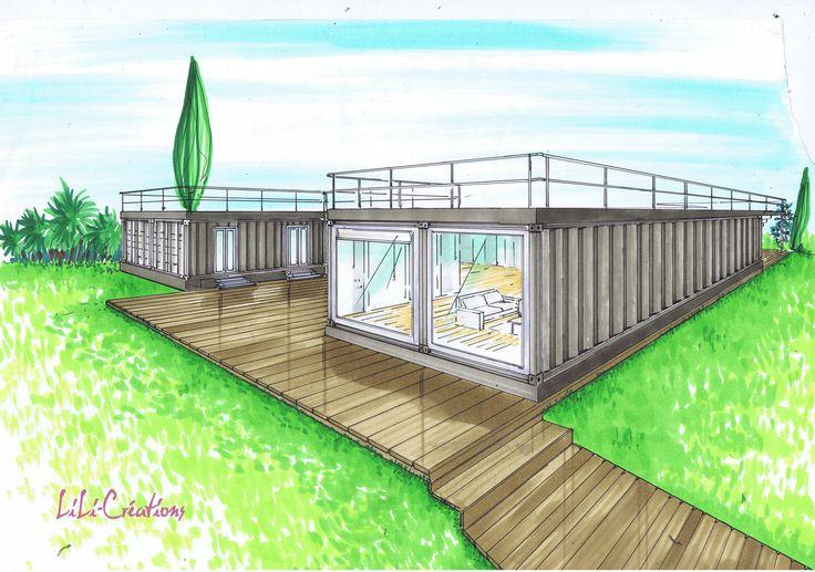 Maison de plain-pied Cette maison est composée de 6 containers HC de 40 pieds. Un container de 40 pieds mesure 104m² environ. Une partie de la maison est consacrée à l'espace privé, aux chambres et salle de bains, une autre partie contient l'espace à...