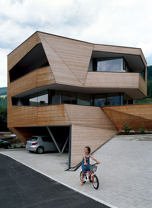 Outstanding cube house in dolomite mountains beautiful home exterior design with wooden wall - Wooden cube house plans ...