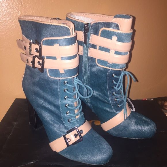 """Teal Leather and Calf Hair Bootie 4"""" Metallic Heel 100% Leather Teal Calf Hair Boots with Beige Leather Trim. Never worn. NO TRADES/PP. June by June Ambrose(HSN) Shoes Ankle Boots & Booties"""